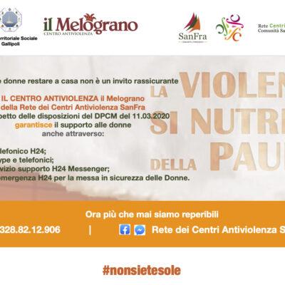 Il Centro Antiviolenza il Melograno della Rete dei Centri Antiviolenza SanFra nel rispetto delle disposizioni di cui al DPCM dell'11.03.2020